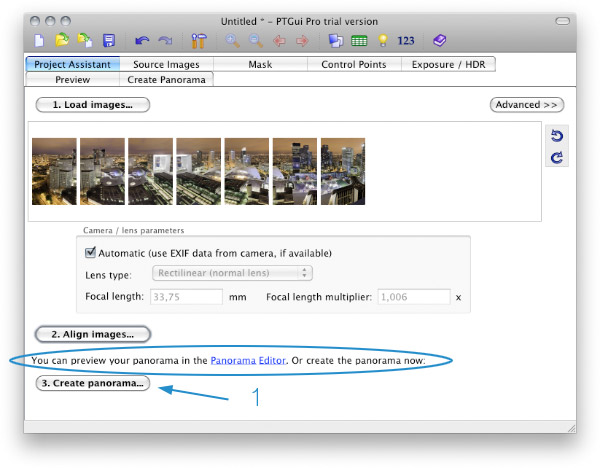 Edit a panorama with PTGui