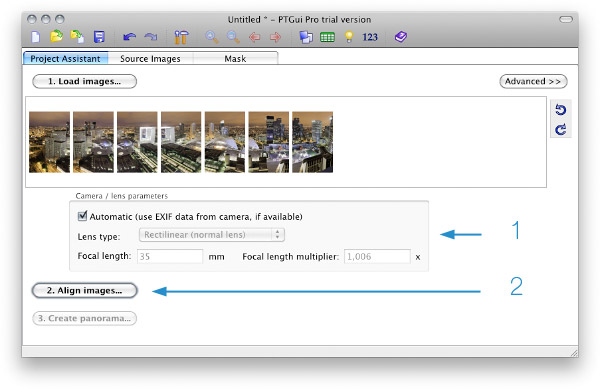 Select pictures in PTGui