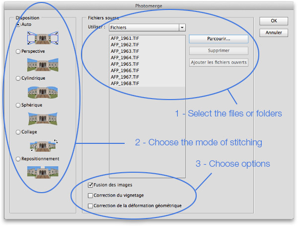Interface du logiciel Photomerge de Photoshop
